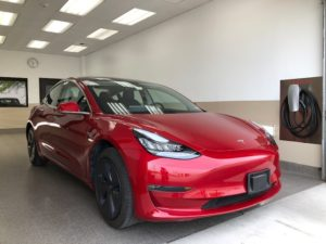 Red Tesla After Collision Repair